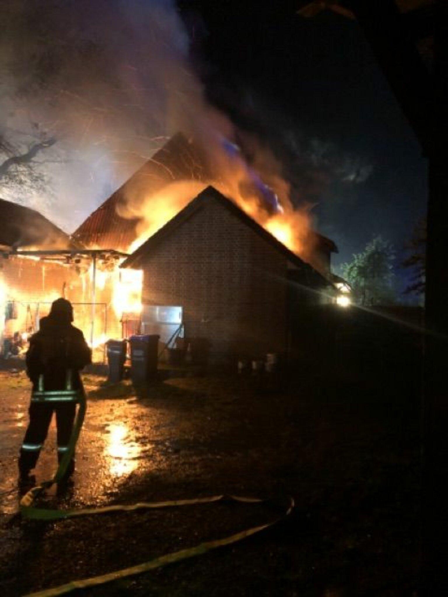 Sieben Bewohner konnten sich retten                                                                  Haus in Sauensiek brennt nieder