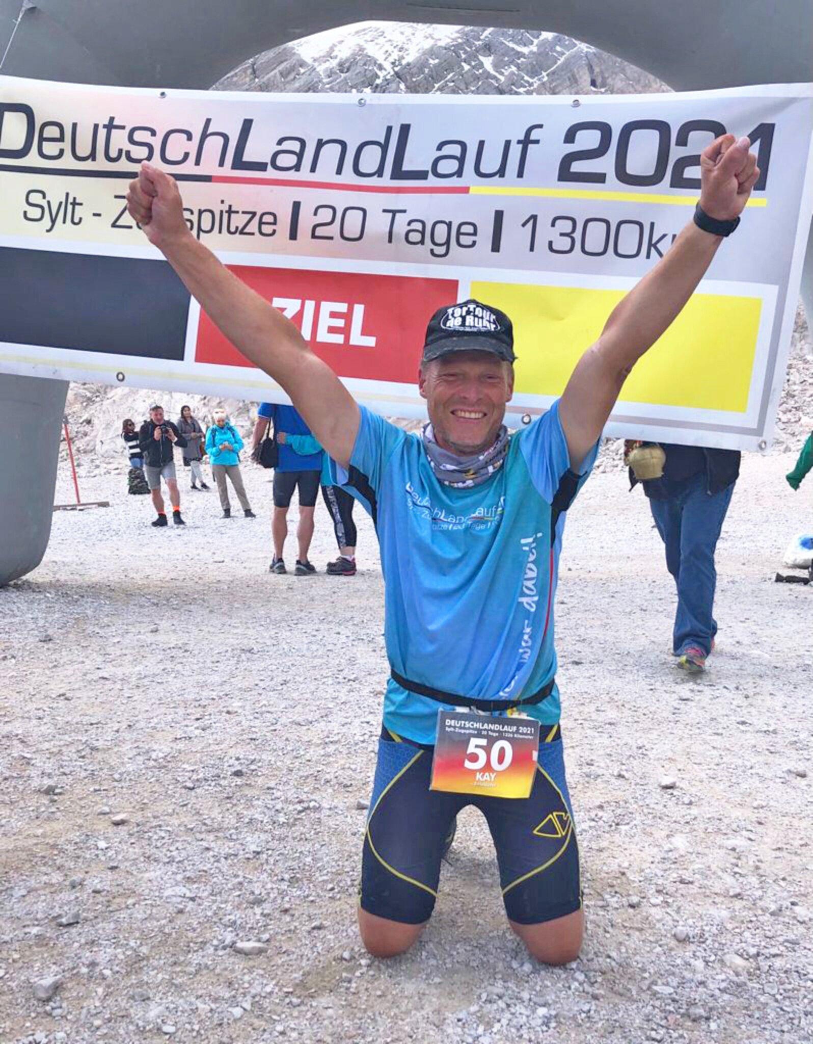 Der Extremsportler hat den Deutschlandlauf absolviert                                                                  Kay Giese: Der Mann, der in 20 Tagen durch Deutschland rennt